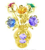 24k Gold Plated 5 Flowers in Vase Free Standing with Mixed Swarovski Element Crystals ()