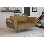 Tan DHP Euro Futon, Linen Upholstery with Chrome Legs, Available in Black, Gray, Purple, Navy or Tan, Convenient Storage Compartment for Loose Items, BUNOS FREE E-Book price