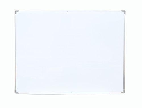 Melange Matsuta Melamine Magnetic White Board with Silver Metalic Frame & Utensil Holder, 47 x - Frame Metalic