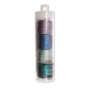 S-Lon Heavy Bead Cord, Sea Color (Green and Blue) Mixture, 0.9mm Diameter 4 Spools