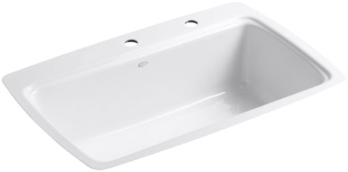 Kohler Traditional Soap Lotion (Kohler K-5864-2-0 Cape Dory Tile-In Kitchen Sink, White)