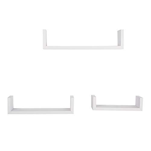 loating U Shelves MDF Multi-Purpose Display Rack for Living Room, Dining Room, Bedroom, Office, Hotel (White) ()