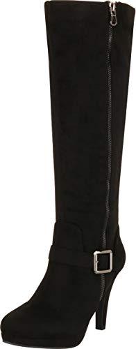 - Cambridge Select Women's Side Zip Platform High Heel Knee-High Boot,8 B(M) US,Black IMSU