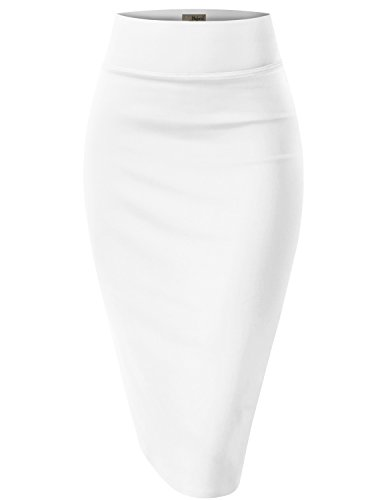(Womens Pencil Skirt for Office Wear KSK43584X 1139 White 1X)