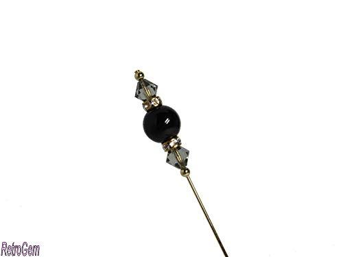 RetroGem Sparkling Elegance Crystal Pearl Gold Tone Hat Pin Made with Swarovski Elements Crystal Pearl #434 (Pearl:Magical Black)