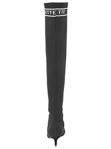 aus Schwarz Overkneestiefel Textilmaterial elastischem JETTE Damen by 0FwU76