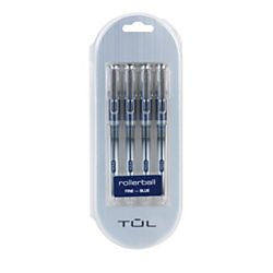 TUL(R) RB1 Rollerball Pens, FinePoint, 0.5mm, Silver Barrel, Blue Ink, Pack Of 4