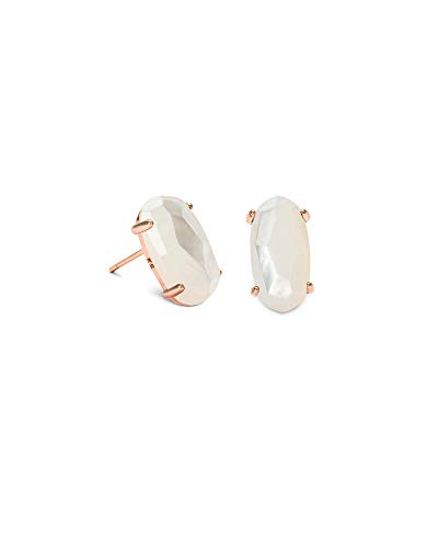 - Kendra Scott Betty Stud Earrings in Rose Gold and Ivory Mother of Pearl