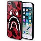 iPhone 7/8 Plus Shark Face Camo Red Case Street Fashion, Auroo Ferret Tempered Glass Back Case, Fashion Hard Glass Back Cover Soft TPU Bumper Frame Anti-Fingerprints Protective Case 5.5