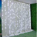 Light Led Double (13' Wide x 10' high Indoor Gauze Romantic LED Lights with Double Layers Party Backdrop Window Curtain White)