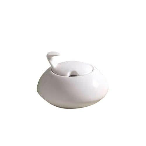 TableTop King COL-HSP Collection 3 1/4 Bone White Porcelain Sugar Caddy/Bowl - 36/Case