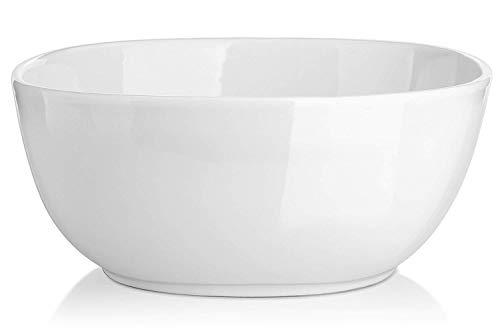 DOWAN 2.4 Quart Porcelain Serving Bowl, Large Salad Bowl and Soup Bowl, White, Set of 1 (Serving Deep Bowl)