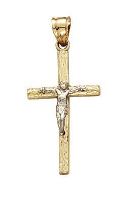 Or bicolore 14carats style en bois Crucifix Pendentif