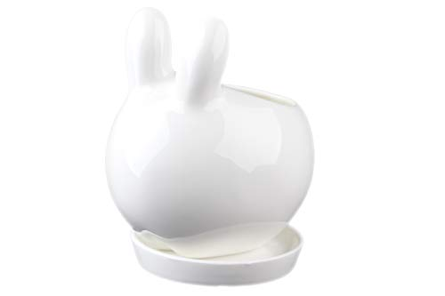 NCYP Indoor White Ceramic Flower Pot Garden Tabletop Kawaii Small Miniature Rabbit Bunny Planter Pot for Succulent Cactis with Tray 3.93 inches Sculpture (No Plants)