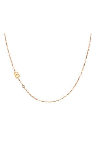 14k gold asymmetrical initial and bezel diamond necklace by Zoe Lev Jewelry