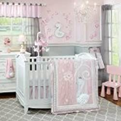 Lambs & Ivy Swan Lake Bedding Set, Pink/White/Grey