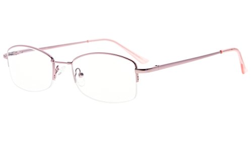 - Eyekepper Half-Rim Womens Reading Glasses Memory Titanium Bridge Ladies' Readers (Pink,+1.25)