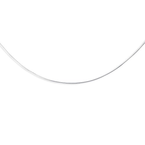 14K White Gold Solid Round Omega 1mm Chain 18