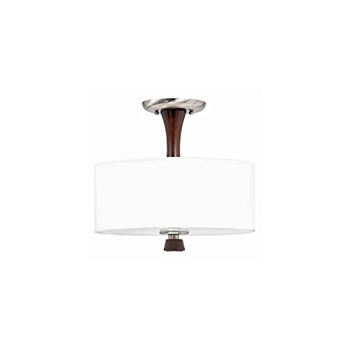 Lumenno Lighting 1002-01-13 Semi-Flush Mount with Linen Drum Shades, Satin Nickel (Bordeaux Flush Mount Ceiling Light)