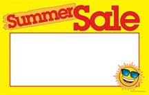 CYB436 Summer Sale Retail Price Cards Signs - Holiday and Seasonal Pack of 100 Cards - Business Store Signage (5 1/2