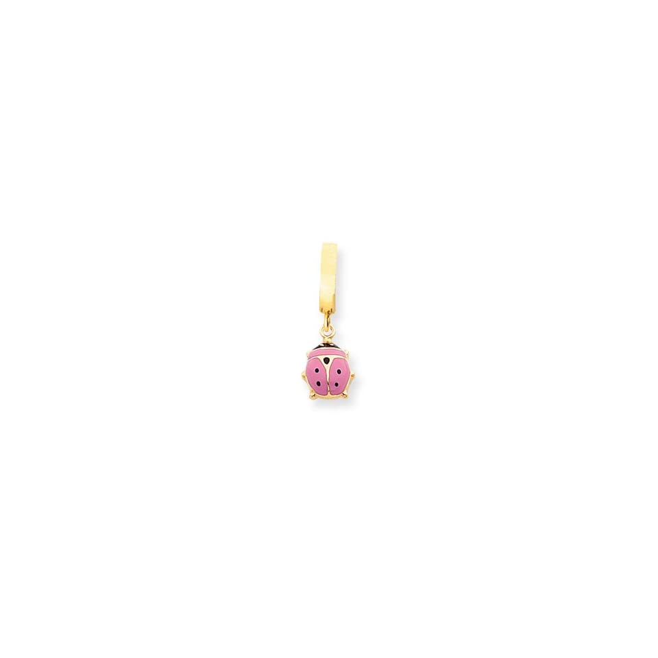14K Hollow Pink Enameled Ladybug TummyToy Belly Ring
