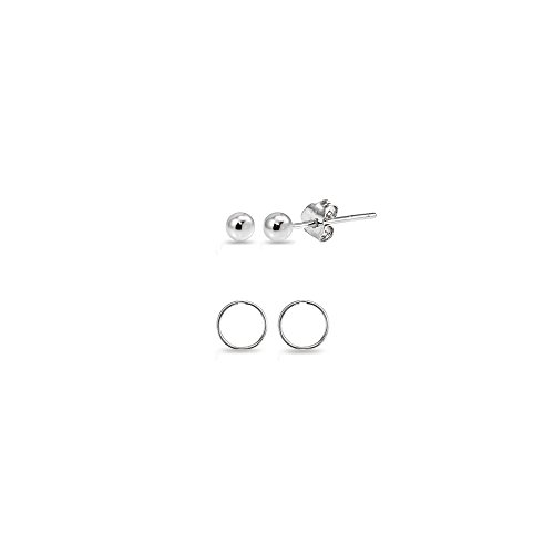 2 Pairs 14K White Gold Unisex 10mm Mini Small Continuous Endless Hoops and Tiny 2mm Ball Bead Stud Earrings Set