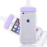 - Generic Baby Bottle Cute 3D TPU Soft Pregnant Woman Milk Bottle Clear Case Lanyard Case Cover for iPhone 6 (Purple)