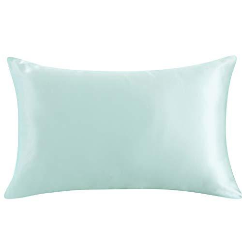 ZIMASILK 100% Mulberry Silk Pillowcase for Hair and Skin,with Hidden Zipper,Both Side 19 Momme Silk, 1pc (Queen 20''x30'', Light Green)
