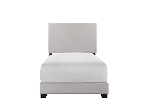 Crown Mark Upholstered Panel Bed in Stone Khaki, Twin