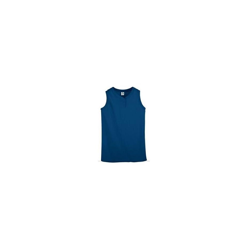 Girls Royal Medium 2 Button Sleeveless Shirt