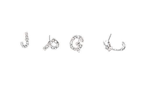 ACVIP Women's Basic Shaped Crosses Flowers Round Square Earring Studs Set (letters 4 pcs) (Square Earrings Mini Glass)