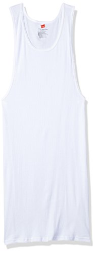 Hanes Men`s Tall TAGLESS® ComfortSoft® Tank Undershirt 3-Pack,018HNT,2XLT,White