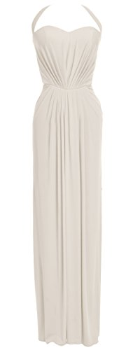 MACloth Women Halter Jersey Long Formal Evening Prom Dress Wedding Party Gown Marfil