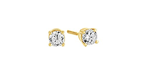 Diamond 10 Ct Solitaire (10K Solid Yellow Gold Natural Diamond Solitaire Stud Earrings With Screw Back (0.1 Ct))