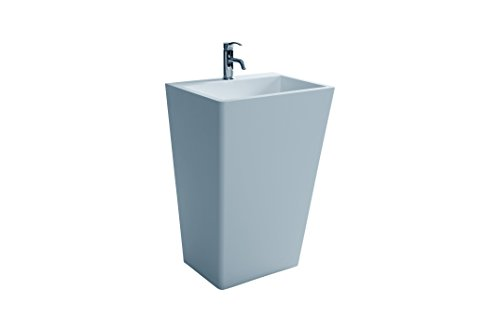 ID Bath Collection Solidrect 22 in. Rect Standing Pedestal Washbasin Solid Surface No Faucet Hole