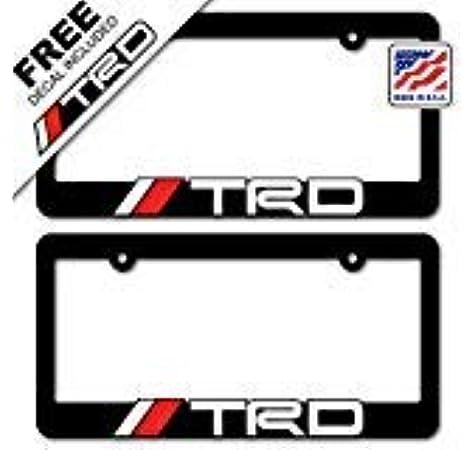 2 Red Xitek TF-TR 3D Emblem TRD Racing Development Sport License Plate Holder Frame Cover for Corolla Camry Tundra Tacoma 4 Runner Land FJ Cruiser