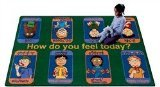 Joy Carpets Kid Essentials Music & Special Needs Signs of Emotions Rug, Multicolored, 5'4
