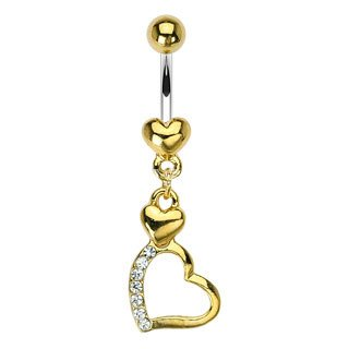 - BodyJewelryOnline Belly Ring Gold Plated with Dangling Heart and Cz Jewels