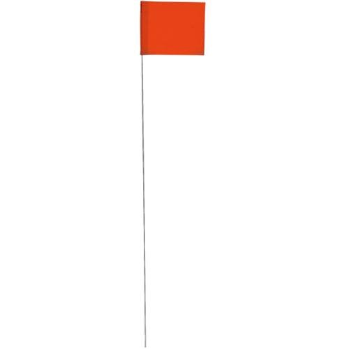 Vinyl Stake Flags with Wire Stakes, Bundle of 100 Oversize Marking Flags (Glo Orange) ()