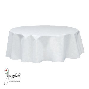 "Joyfull ""Linen-look"" Round Table Cover 84"", Disposable"