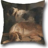 Oil Painting George Morland - Setters Throw Pillow Covers 20 X 20 Inches / 50 By 50 Cm Best Choice For Couples,gf,car,drawing Room,living Room,family With 2 Sides