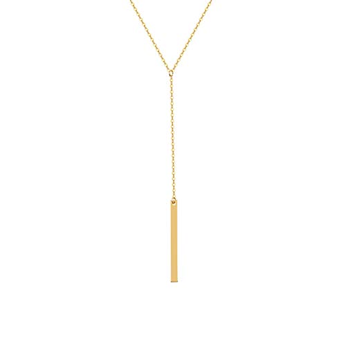 - S.J JEWELRY Fremttly CZ Simple Delicate Handmade 14K Gold Fill/Rose Gold/Silver Adjustable Y Necklace Lariat Simple Baton Necklace-Y-1-Baton