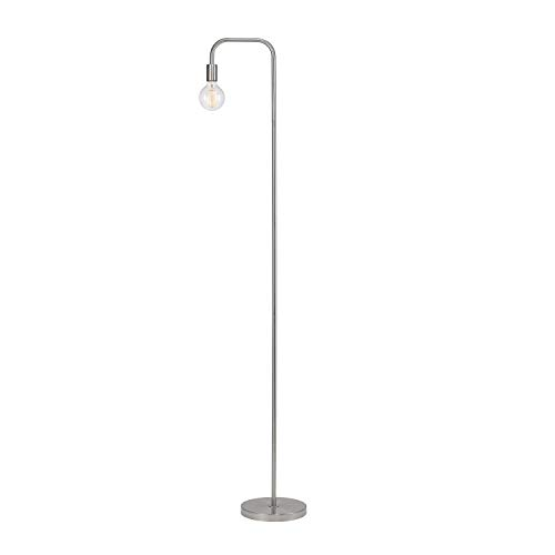 Arced Lighting Arc Floor Lamp Silver Light Fixture Standing Bedroom Lights Indoor Incandescent Vintage Style Curved Arm Round Base, Metal ()