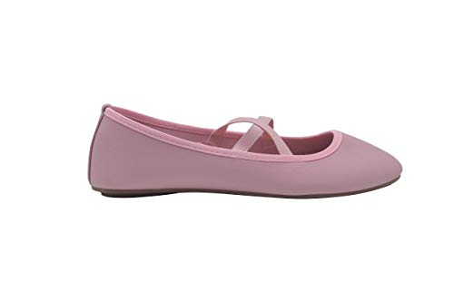 Cross Strap Mary Jane - dELiAs Ladies Ballet Flats 6 M US Slip On Shoes with Elastic Straps Blush