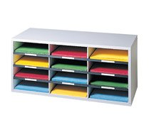 Fellowes 25004 12-Section Compartment Sorter, Melamine Laminated, Dove Gray