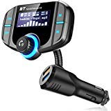 Bluetooth FM Transmitter,Wireless In-car Radio Adapter Hands-free Car Kit with 1.7 Inch Display, QC3.0 Quick Charger 2.4A Dual USB Ports, TF Card,AUX Input/Output Mp3/MP4 Player ()