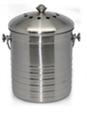 Cedar Grove Stainless Steel Kitchen Compost Bin 1.3 Gallon, with Charcoal Filter (Cedar Waste Receptacle)