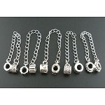 Pack of 5 Antique Silver Tone Safety Chains. Fits Troll, Biagi, Zable, Chamilia, And Style Charm Bracelets.