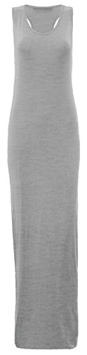 Summer 8 Silver Grey Dress Maxi Long Back Vest Janisramone Sizes Muscle 26 Womens Racer Jersey Ladies ZwqTz7