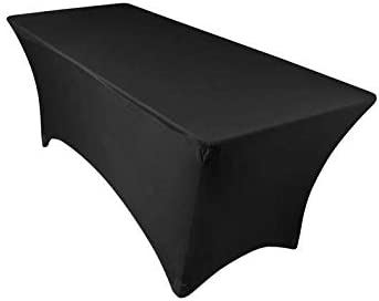 Amazon Com 6ft Tablecloth Rectangular Spandex Linen Black Table Cloth Fitted Cover For 6 Foot Folding Table Wedding Linens Banquet Cloths Rectangle Covers Kitchen Dining